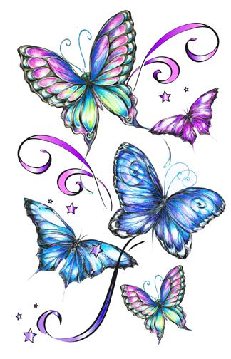 fantasy butterflies temporary tattoos. Black Bedroom Furniture Sets. Home Design Ideas