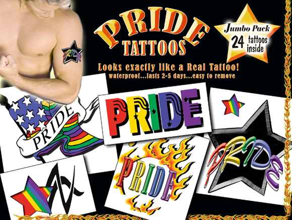 Pride for Guys Temporary Tattoos - Pride Tattoo package includes 24