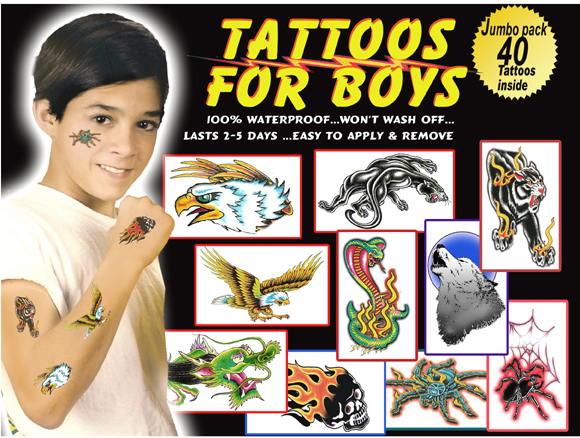 Boy S Temporary Tattoos Boy S Tattoo Package Includes 40