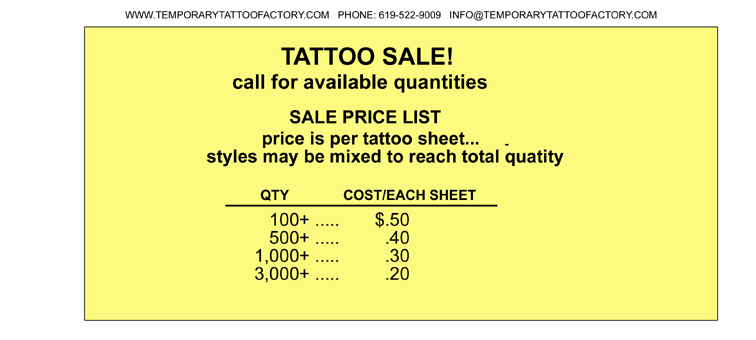 Temporary tattoo factory over stock and specials for Tattoo factory prices