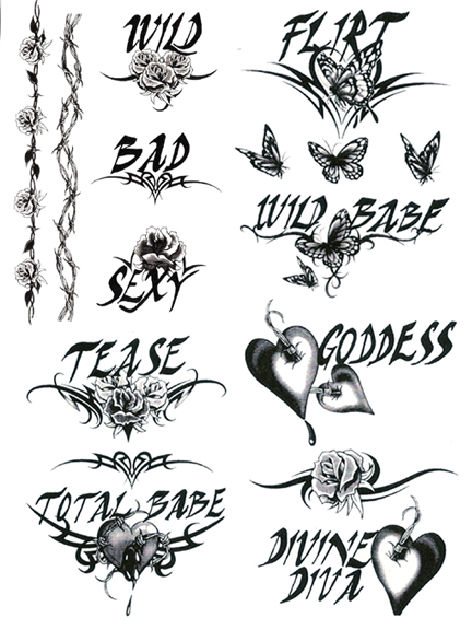 Wild bad sexy temporary tattoo sheets for Vulgar temporary tattoos